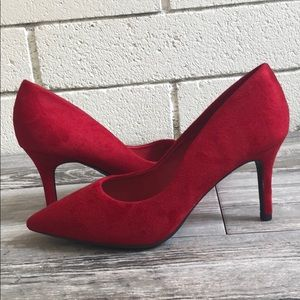 Red WIDE FIT pointy toe high heel dress pump
